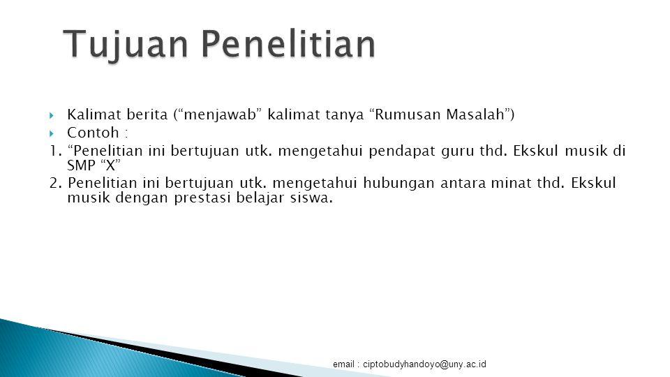  1. Manfaat Teoritis  2. Manfaat Praktis email : ciptobudyhandoyo@uny.ac.id