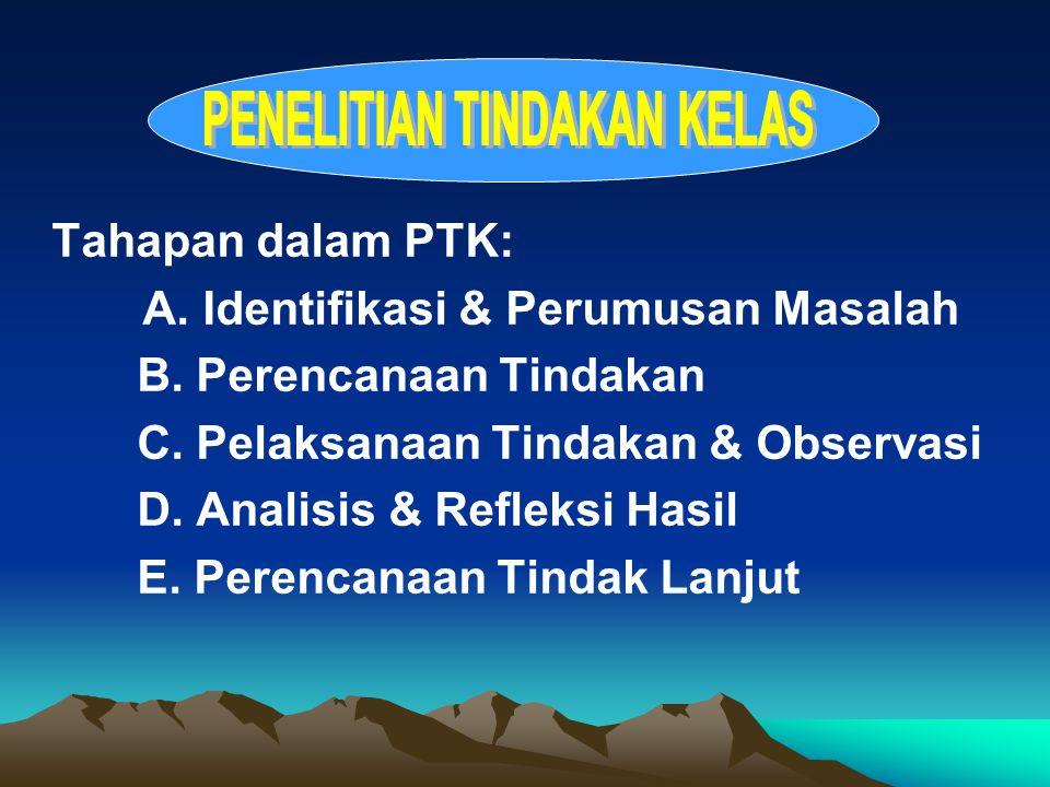 Tahapan dalam PTK: A. Identifikasi & Perumusan Masalah B.