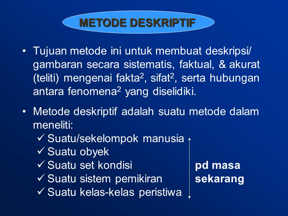 METODE DESKRIPTIF Tujuan metode ini untuk membuat deskripsi/ gambaran secara sistematis, faktual, & akurat (teliti) mengenai fakta 2, sifat 2, serta hubungan antara fenomena 2 yang diselidiki.