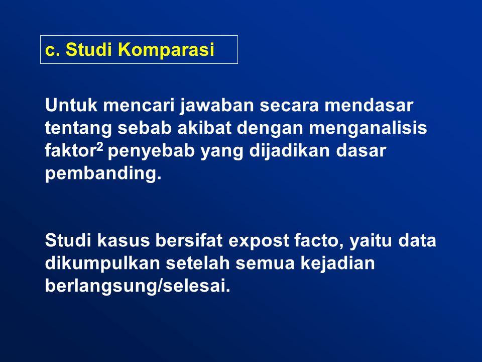 c. Studi Komparasi Untuk mencari jawaban secara mendasar tentang sebab akibat dengan menganalisis faktor 2 penyebab yang dijadikan dasar pembanding. S