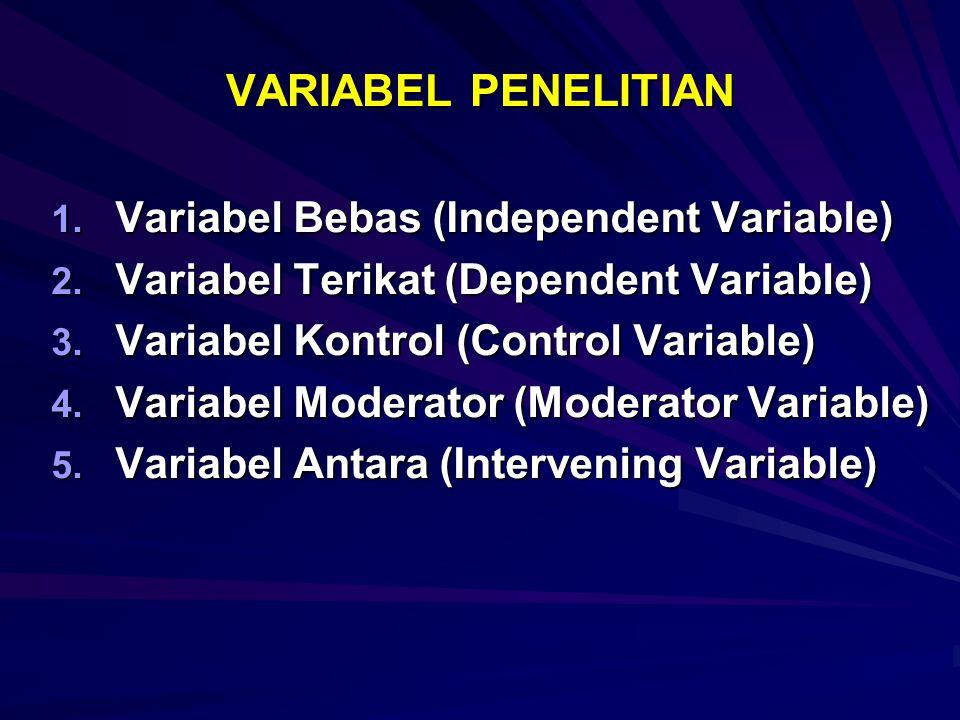 VARIABEL PENELITIAN 1.Variabel Bebas (Independent Variable) 2.