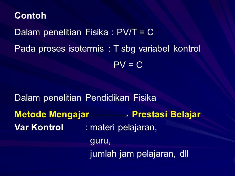 Contoh Dalam penelitian Fisika : PV/T = C Pada proses isotermis: T sbg variabel kontrol PV = C Dalam penelitian Pendidikan Fisika Metode MengajarPrestasi Belajar Var Kontrol: materi pelajaran, guru, jumlah jam pelajaran, dll