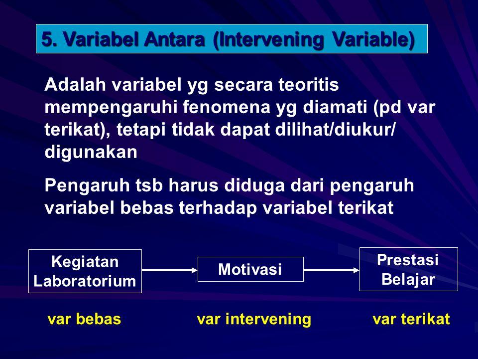 Adalah variabel yg secara teoritis mempengaruhi fenomena yg diamati (pd var terikat), tetapi tidak dapat dilihat/diukur/ digunakan Pengaruh tsb harus diduga dari pengaruh variabel bebas terhadap variabel terikat 5.