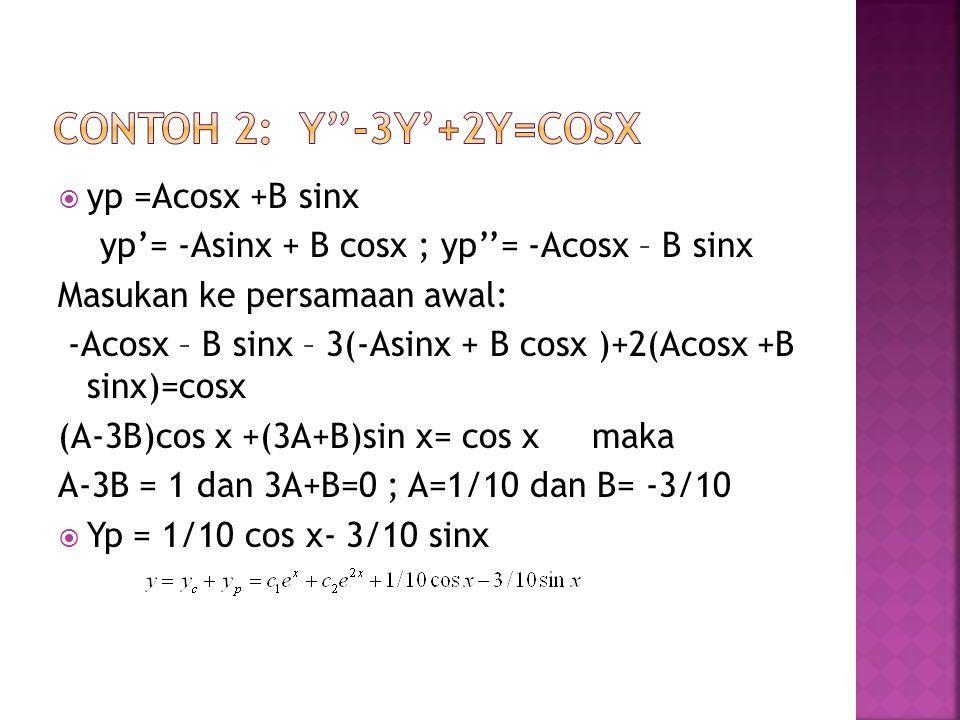  yp =Acosx +B sinx yp'= -Asinx + B cosx ; yp''= -Acosx – B sinx Masukan ke persamaan awal: -Acosx – B sinx – 3(-Asinx + B cosx )+2(Acosx +B sinx)=cos