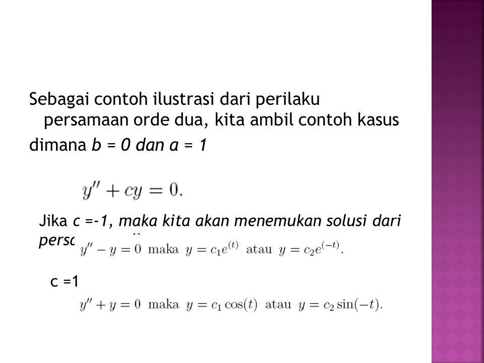Sebagai contoh ilustrasi dari perilaku persamaan orde dua, kita ambil contoh kasus dimana b = 0 dan a = 1 Jika c =-1, maka kita akan menemukan solusi