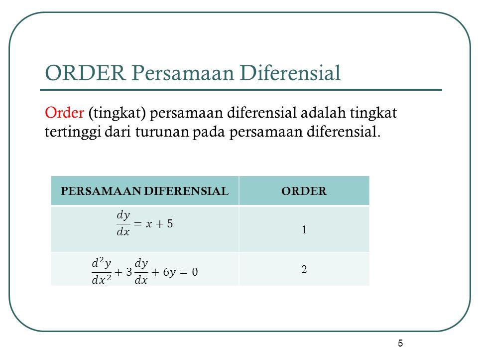 ORDER Persamaan Diferensial Order (tingkat) persamaan diferensial adalah tingkat tertinggi dari turunan pada persamaan diferensial. 5 PERSAMAAN DIFERE