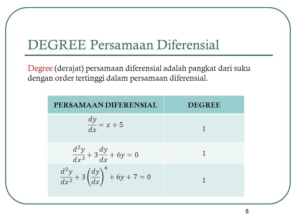 DEGREE Persamaan Diferensial Degree (derajat) persamaan diferensial adalah pangkat dari suku dengan order tertinggi dalam persamaan diferensial. 6 PER