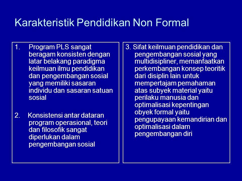 Karakteristik Pendidikan Non Formal 1.Program PLS sangat beragam konsisten dengan latar belakang paradigma keilmuan ilmu pendidikan dan pengembangan sosial yang memiliki sasaran individu dan sasaran satuan sosial 2.