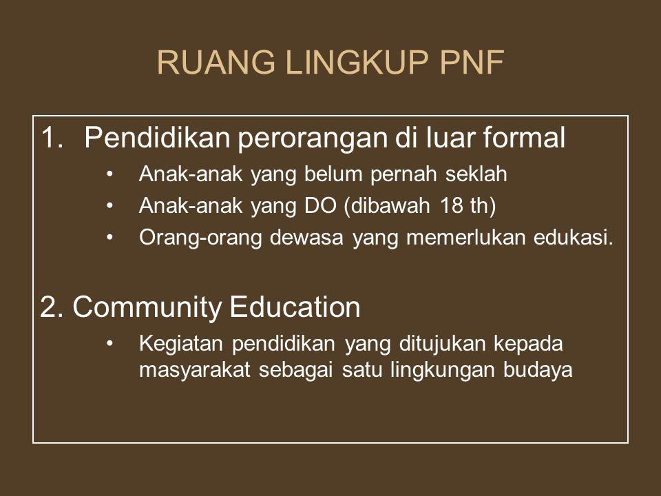 RUANG LINGKUP PNF 1.Pendidikan perorangan di luar formal Anak-anak yang belum pernah seklah Anak-anak yang DO (dibawah 18 th) Orang-orang dewasa yang memerlukan edukasi.