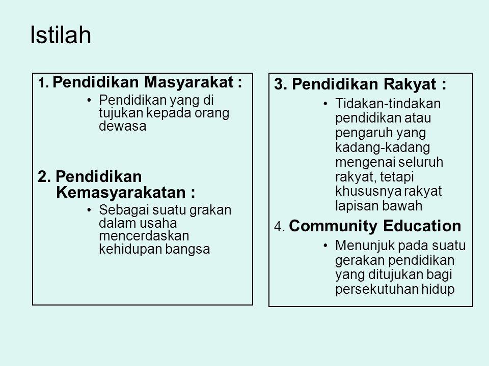 Istilah 1. Pendidikan Masyarakat : Pendidikan yang di tujukan kepada orang dewasa 2. Pendidikan Kemasyarakatan : Sebagai suatu grakan dalam usaha menc