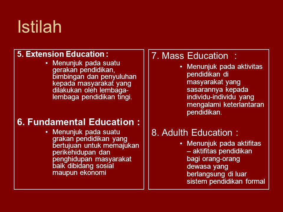 Istilah 7. Mass Education : Menunjuk pada aktivitas pendidikan di masyarakat yang sasarannya kepada individu-individu yang mengalami keterlantaran pen