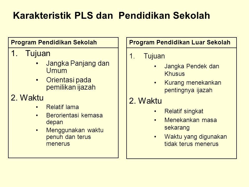 Karakteristik PLS dan Pendidikan Sekolah 1.Tujuan Jangka Panjang dan Umum Orientasi pada pemilikan ijazah 2. Waktu Relatif lama Berorientasi kemasa de