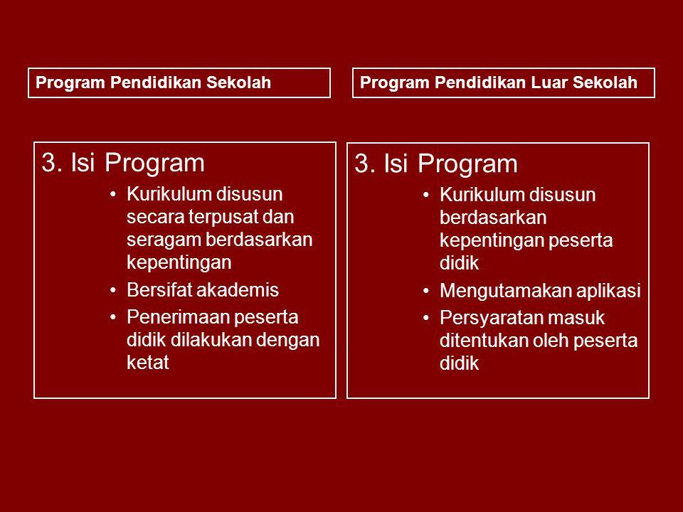 3. Isi Program Kurikulum disusun secara terpusat dan seragam berdasarkan kepentingan Bersifat akademis Penerimaan peserta didik dilakukan dengan ketat