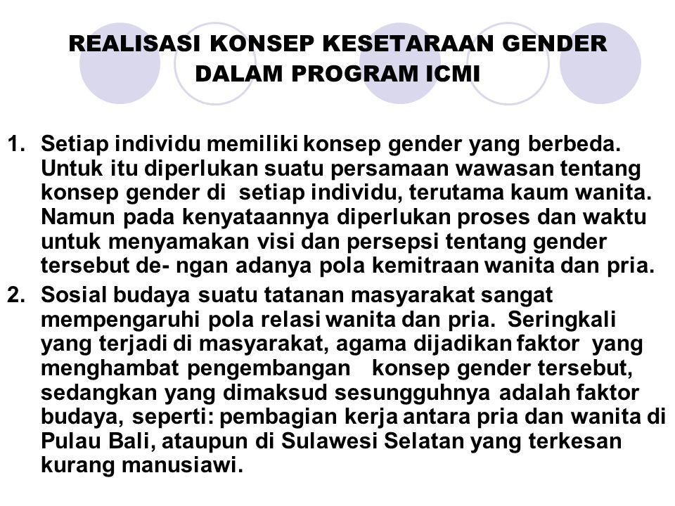REALISASI KONSEP KESETARAAN GENDER DALAM PROGRAM ICMI 1.Setiap individu memiliki konsep gender yang berbeda. Untuk itu diperlukan suatu persamaan wawa