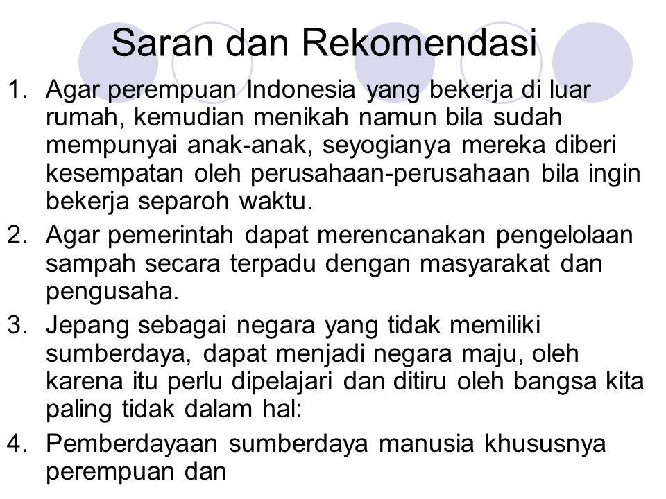Saran dan Rekomendasi 1.Agar perempuan Indonesia yang bekerja di luar rumah, kemudian menikah namun bila sudah mempunyai anak-anak, seyogianya mereka