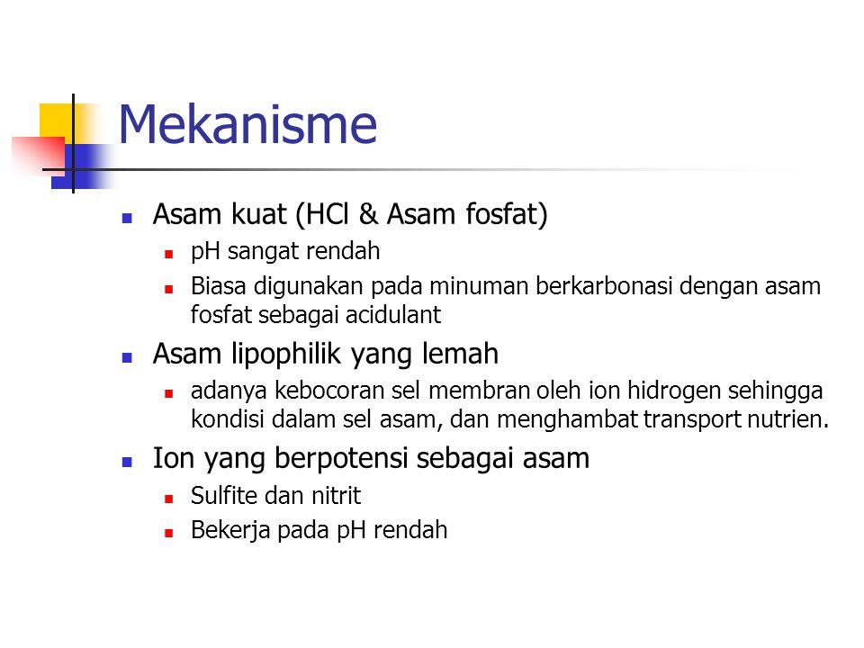 Mekanisme Asam kuat (HCl & Asam fosfat) pH sangat rendah Biasa digunakan pada minuman berkarbonasi dengan asam fosfat sebagai acidulant Asam lipophilik yang lemah adanya kebocoran sel membran oleh ion hidrogen sehingga kondisi dalam sel asam, dan menghambat transport nutrien.