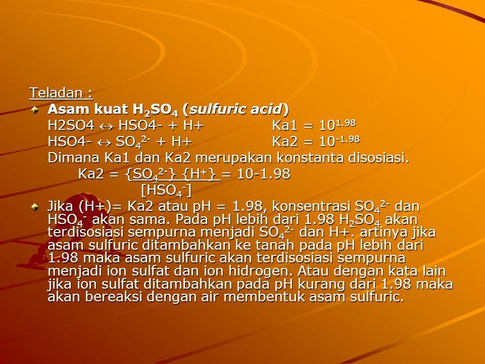 Teladan : Asam kuat H 2 SO 4 (sulfuric acid) H2SO4  HSO4- + H+Ka1 = 10 1.98 HSO4-  SO 4 2- + H+Ka2 = 10 -1.98 Dimana Ka1 dan Ka2 merupakan konstanta