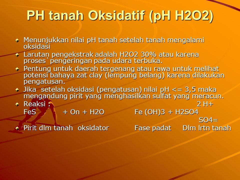 PH tanah Oksidatif (pH H2O2) Menunjukkan nilai pH tanah setelah tanah mengalami oksidasi Larutan pengekstrak adalah H2O2 30% atau karena proses`penger