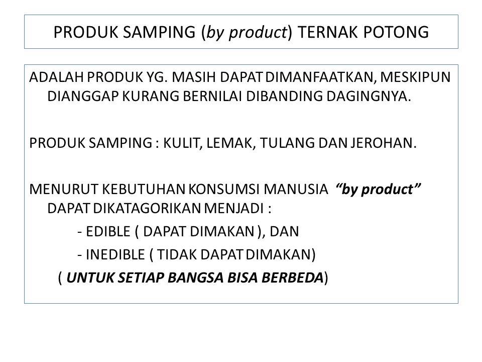 PRODUK SAMPING (by product) TERNAK POTONG ADALAH PRODUK YG.