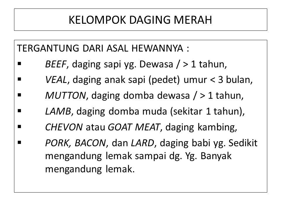 KELOMPOK DAGING MERAH TERGANTUNG DARI ASAL HEWANNYA :  BEEF, daging sapi yg.