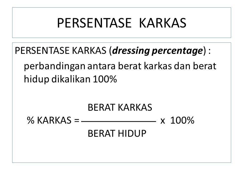PERSENTASE KARKAS PERSENTASE KARKAS (dressing percentage) : perbandingan antara berat karkas dan berat hidup dikalikan 100% BERAT KARKAS % KARKAS = x 100% BERAT HIDUP