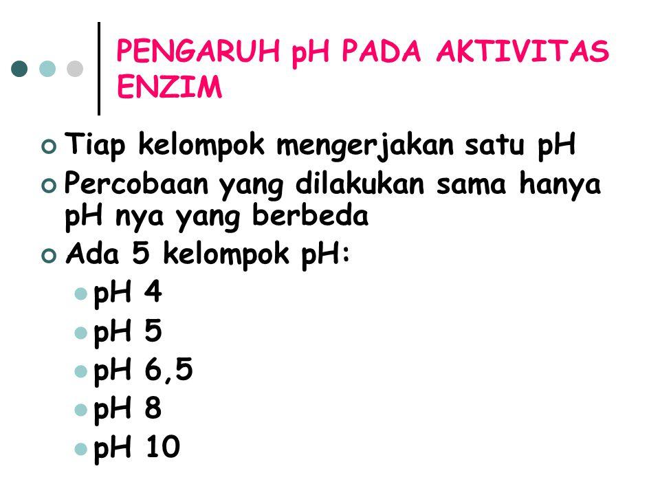 PENGARUH pH PADA AKTIVITAS ENZIM Tiap kelompok mengerjakan satu pH Percobaan yang dilakukan sama hanya pH nya yang berbeda Ada 5 kelompok pH: pH 4 pH