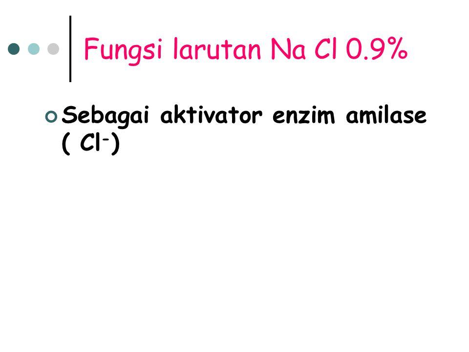 Fungsi larutan Na Cl 0.9% Sebagai aktivator enzim amilase ( Cl - )