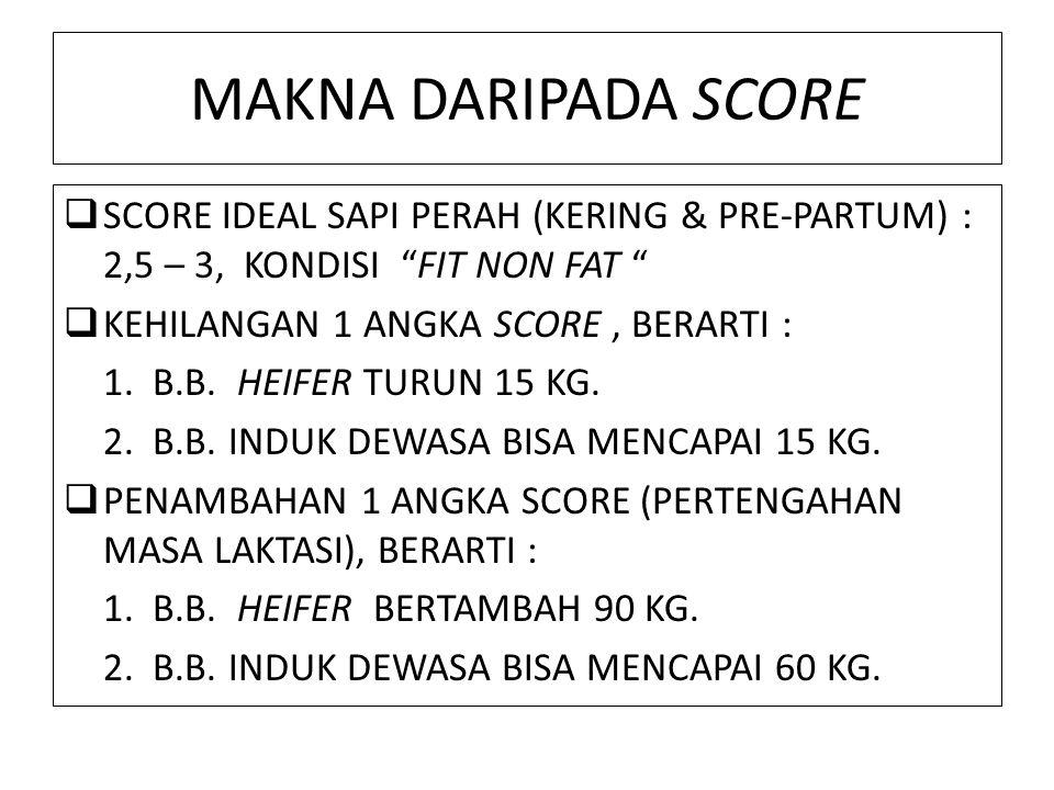 MAKNA DARIPADA SCORE  SCORE IDEAL SAPI PERAH (KERING & PRE-PARTUM) : 2,5 – 3, KONDISI FIT NON FAT  KEHILANGAN 1 ANGKA SCORE, BERARTI : 1.
