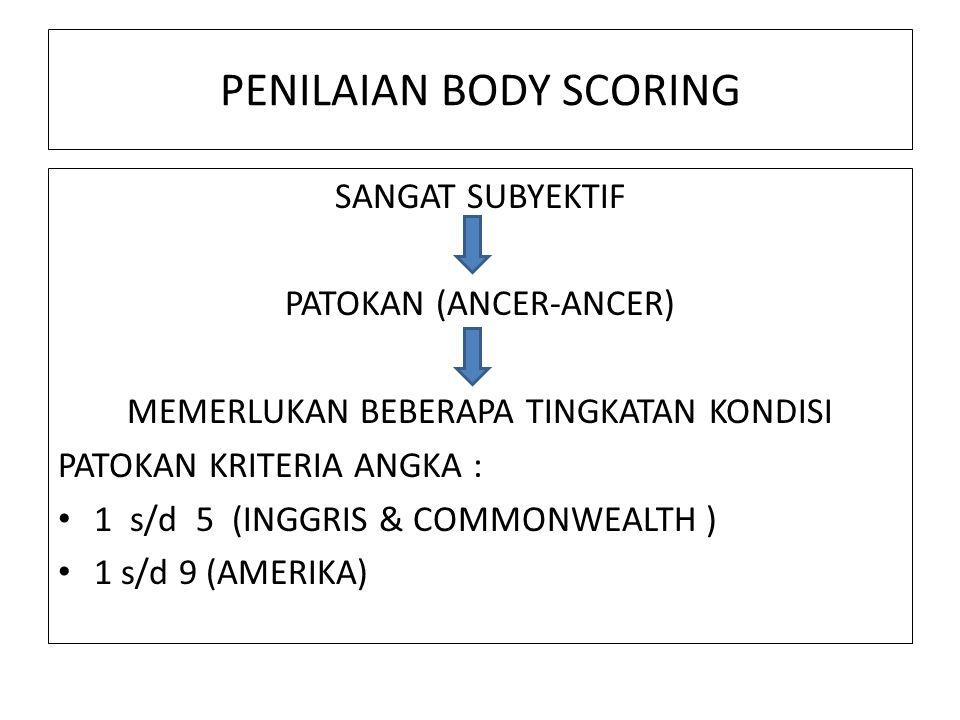 PENILAIAN BODY SCORING SANGAT SUBYEKTIF PATOKAN (ANCER-ANCER) MEMERLUKAN BEBERAPA TINGKATAN KONDISI PATOKAN KRITERIA ANGKA : 1 s/d 5 (INGGRIS & COMMONWEALTH ) 1 s/d 9 (AMERIKA)