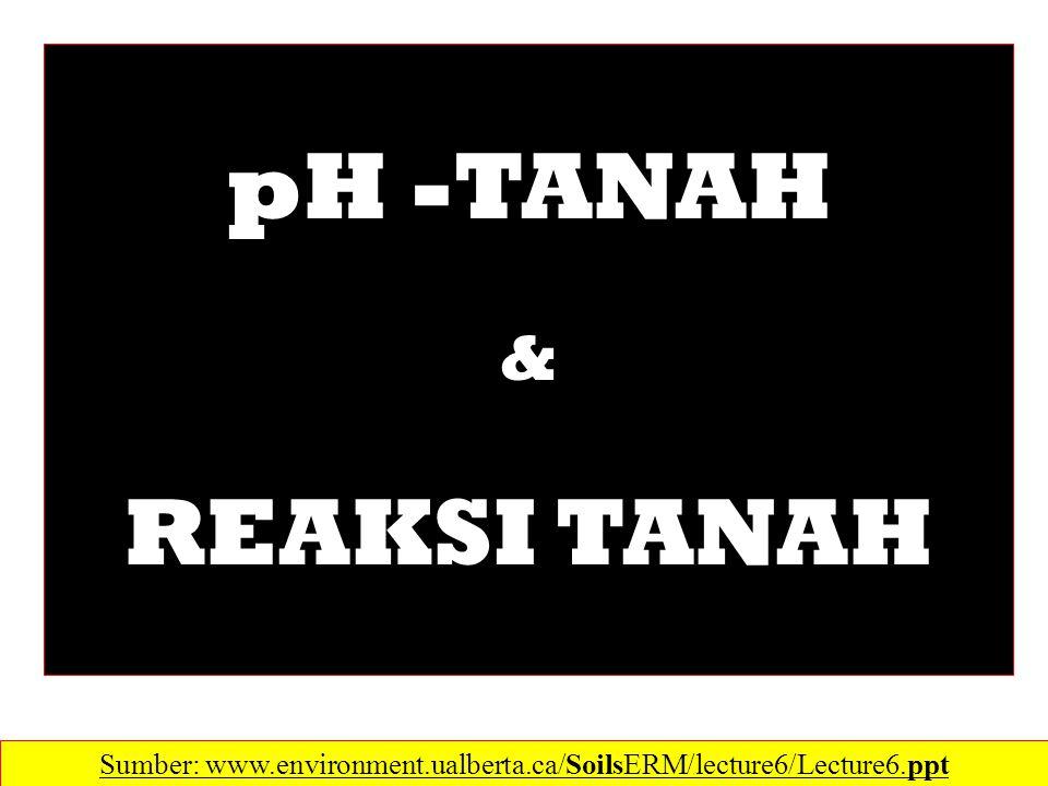 Sumber: www.environment.ualberta.ca/SoilsERM/lecture6/Lecture6.ppt pH -TANAH & REAKSI TANAH