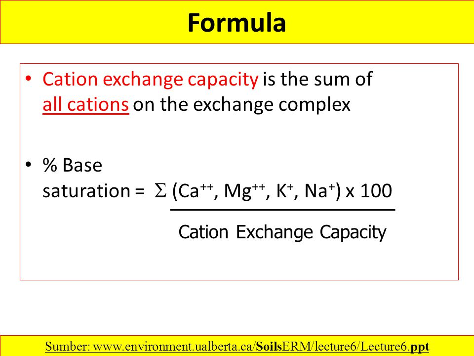 Formula Cation exchange capacity is the sum of all cations on the exchange complex % Base saturation =  (Ca ++, Mg ++, K +, Na + ) x 100 Cation Excha
