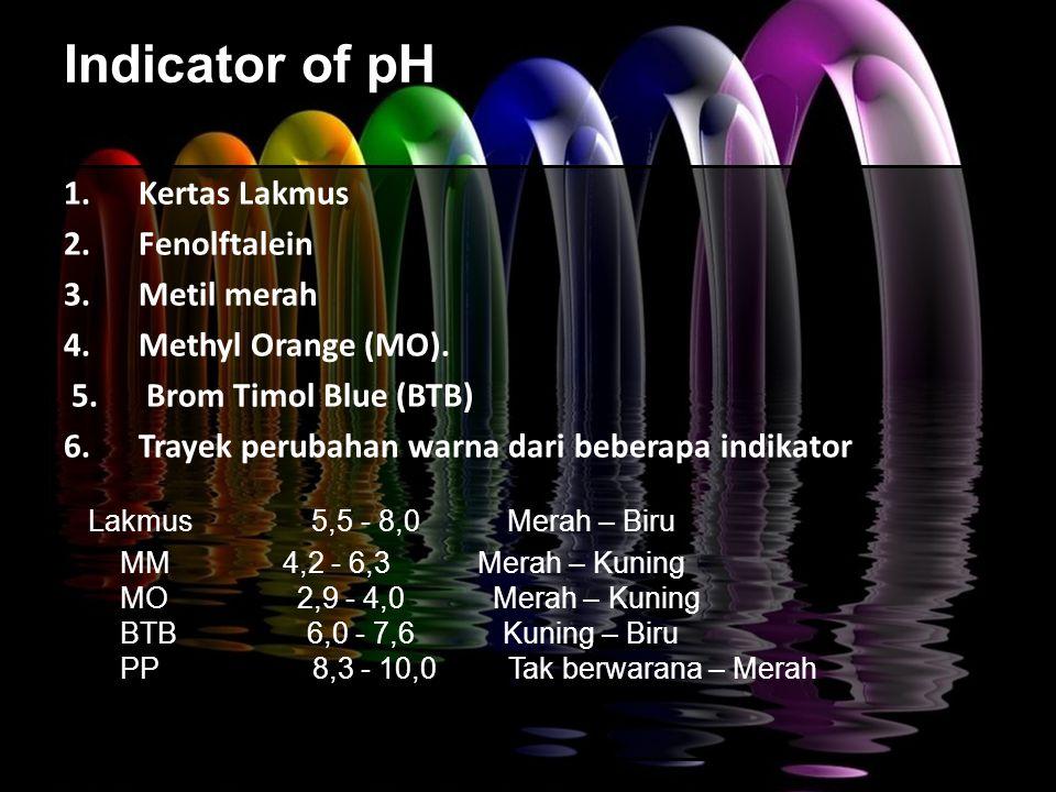 Indicator of pH 1.Kertas Lakmus 2. Fenolftalein 3.