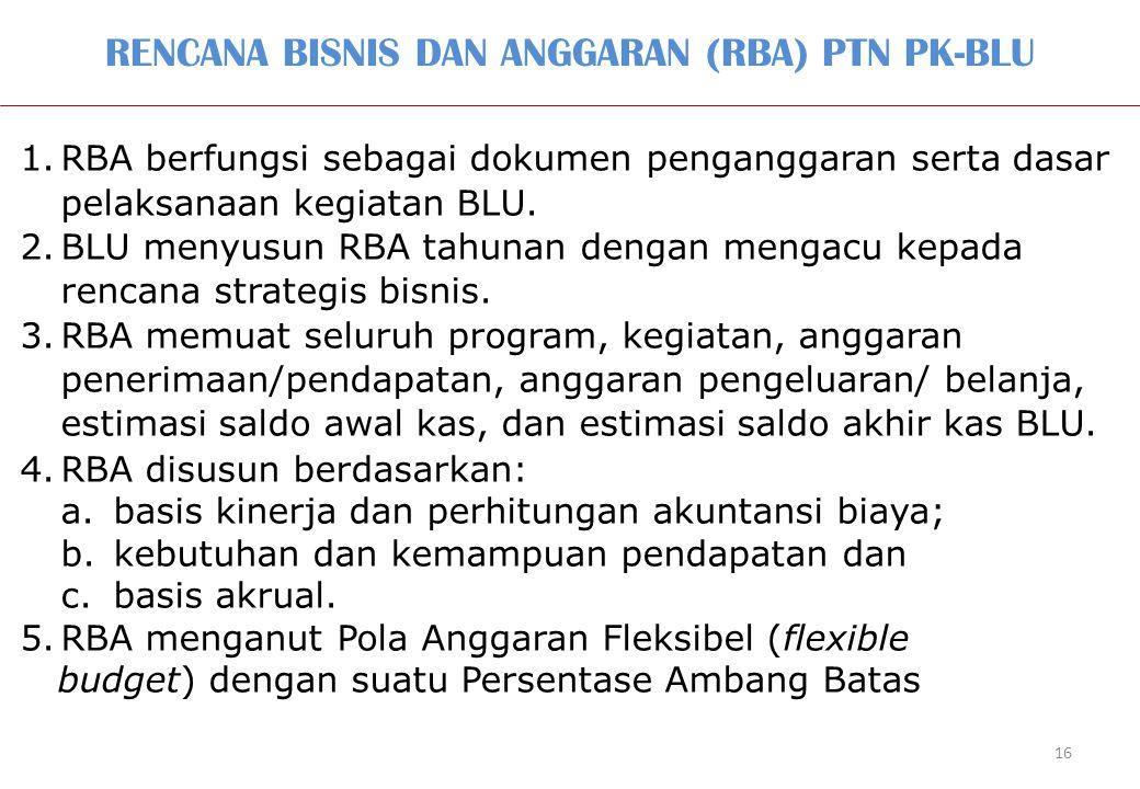 RENCANA BISNIS DAN ANGGARAN (RBA) PTN PK-BLU 16 1.RBA berfungsi sebagai dokumen penganggaran serta dasar pelaksanaan kegiatan BLU. 2.BLU menyusun RBA