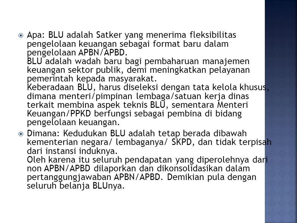  Apa: BLU adalah Satker yang menerima fleksibilitas pengelolaan keuangan sebagai format baru dalam pengelolaan APBN/APBD. BLU adalah wadah baru bagi