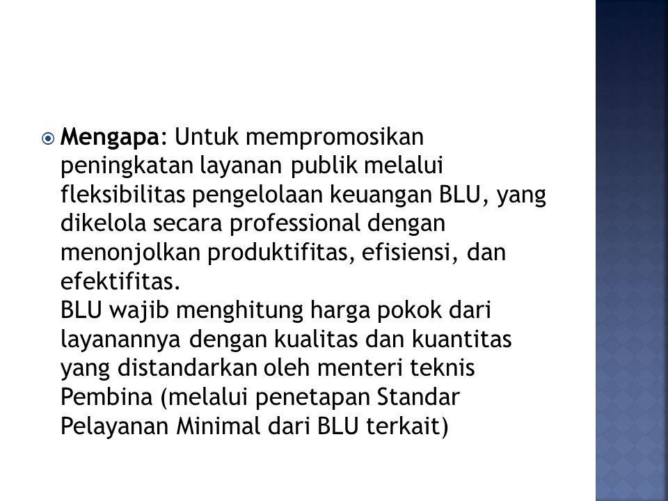  Mengapa: Untuk mempromosikan peningkatan layanan publik melalui fleksibilitas pengelolaan keuangan BLU, yang dikelola secara professional dengan men