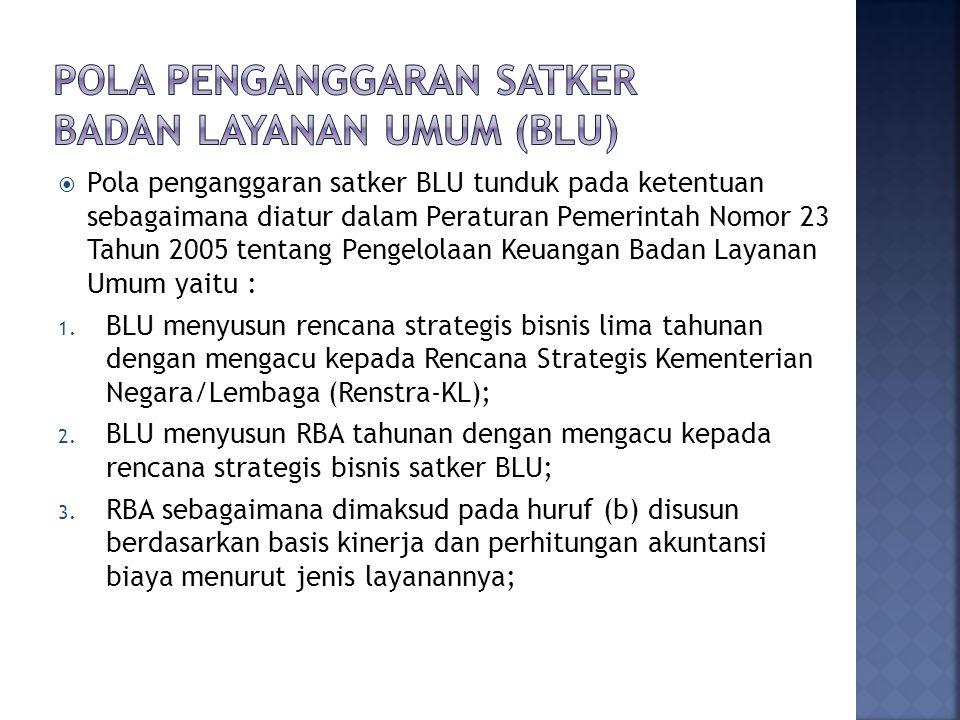  Pola penganggaran satker BLU tunduk pada ketentuan sebagaimana diatur dalam Peraturan Pemerintah Nomor 23 Tahun 2005 tentang Pengelolaan Keuangan Badan Layanan Umum yaitu : 1.