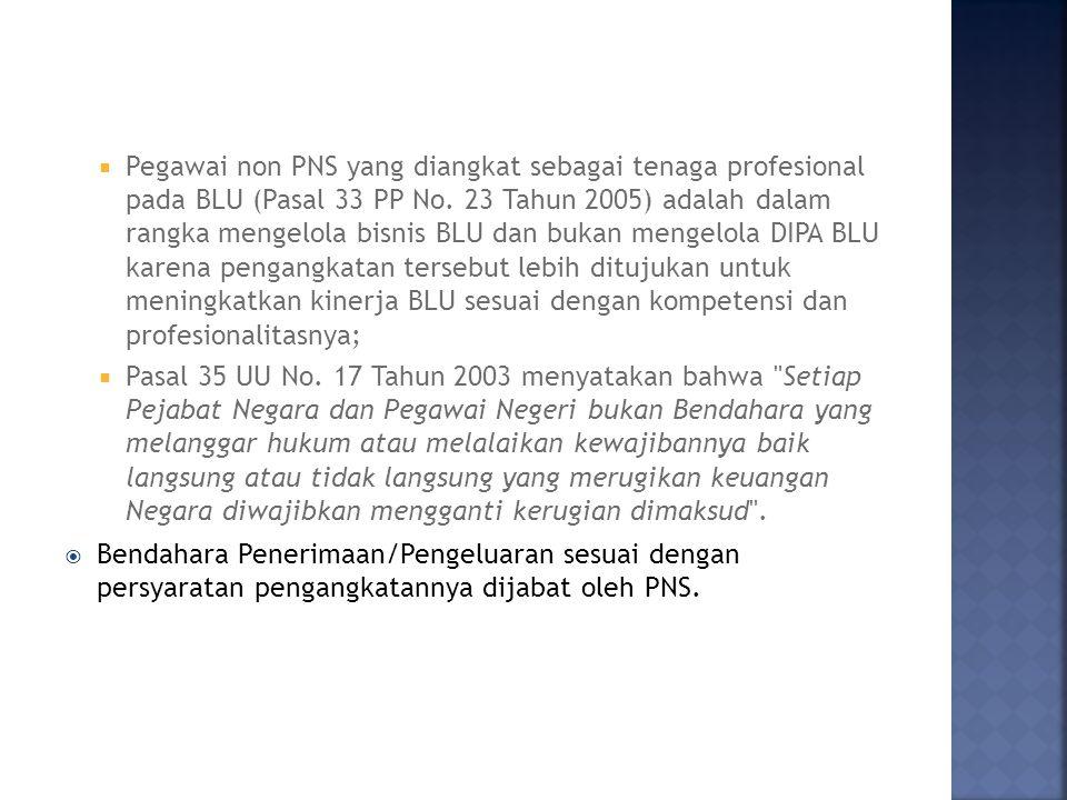 Pegawai non PNS yang diangkat sebagai tenaga profesional pada BLU (Pasal 33 PP No. 23 Tahun 2005) adalah dalam rangka mengelola bisnis BLU dan bukan