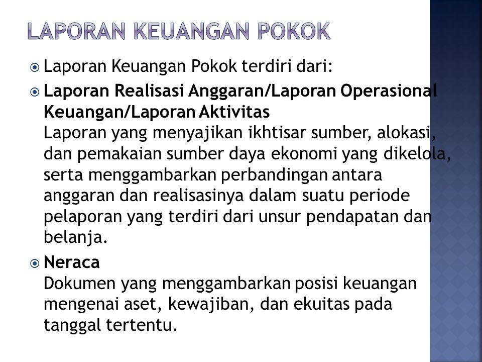  Laporan Keuangan Pokok terdiri dari:  Laporan Realisasi Anggaran/Laporan Operasional Keuangan/Laporan Aktivitas Laporan yang menyajikan ikhtisar su