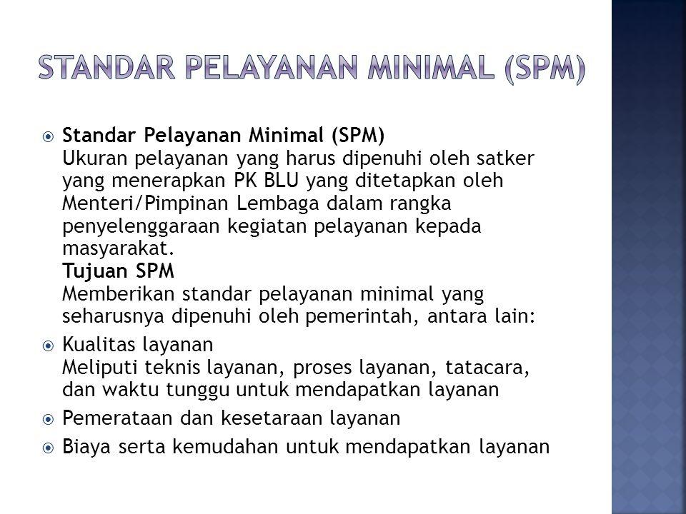  Standar Pelayanan Minimal (SPM) Ukuran pelayanan yang harus dipenuhi oleh satker yang menerapkan PK BLU yang ditetapkan oleh Menteri/Pimpinan Lembaga dalam rangka penyelenggaraan kegiatan pelayanan kepada masyarakat.