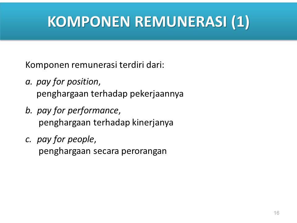 16 KOMPONEN REMUNERASI (1) Komponen remunerasi terdiri dari: a.pay for position, penghargaan terhadap pekerjaannya b.pay for performance, penghargaan terhadap kinerjanya c.pay for people, penghargaan secara perorangan
