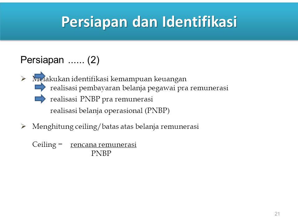 21 Persiapan dan Identifikasi Persiapan...... (2)  Melakukan identifikasi kemampuan keuangan realisasi pembayaran belanja pegawai pra remunerasi real