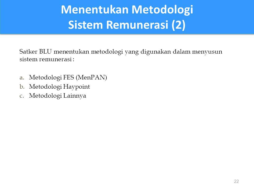 Satker BLU menentukan metodologi yang digunakan dalam menyusun sistem remunerasi : a.Metodologi FES (MenPAN) b.Metodologi Haypoint c.Metodologi Lainnya 22 Menentukan Metodologi Sistem Remunerasi (2) Menentukan Metodologi Sistem Remunerasi (2)