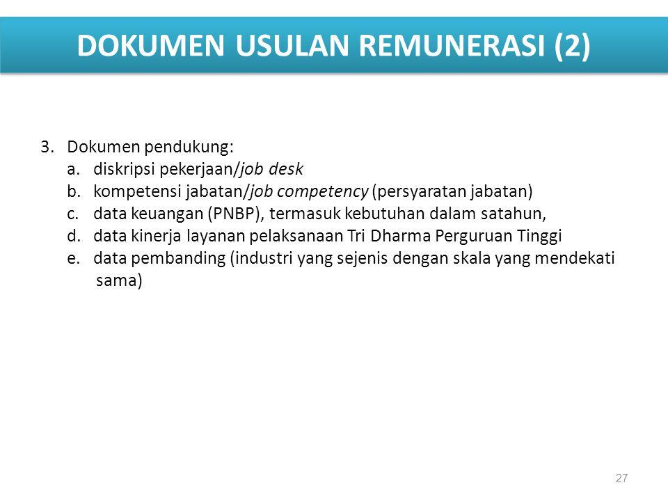 DOKUMEN USULAN REMUNERASI (2) 3.Dokumen pendukung: a. diskripsi pekerjaan/job desk b.kompetensi jabatan/job competency (persyaratan jabatan) c.data ke
