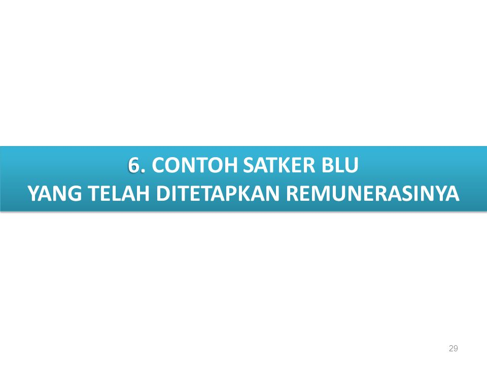 II. DATA DAN FAKTA 29 6. 6. CONTOH SATKER BLU YANG TELAH DITETAPKAN REMUNERASINYA 6. 6. CONTOH SATKER BLU YANG TELAH DITETAPKAN REMUNERASINYA