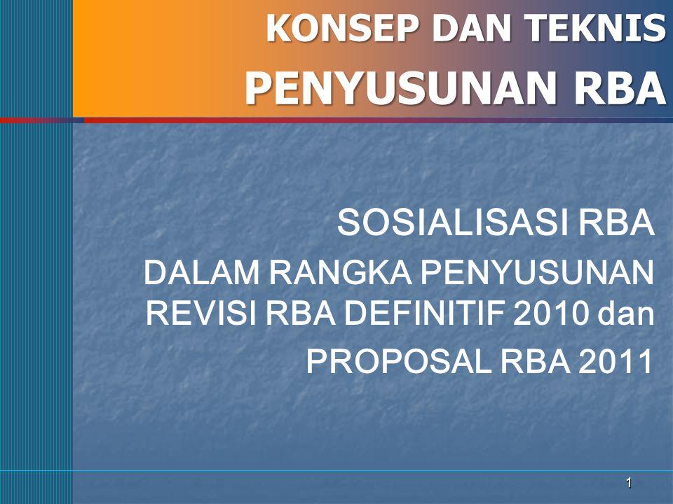 1 KONSEP DAN TEKNIS PENYUSUNAN RBA SOSIALISASI RBA DALAM RANGKA PENYUSUNAN REVISI RBA DEFINITIF 2010 dan PROPOSAL RBA 2011