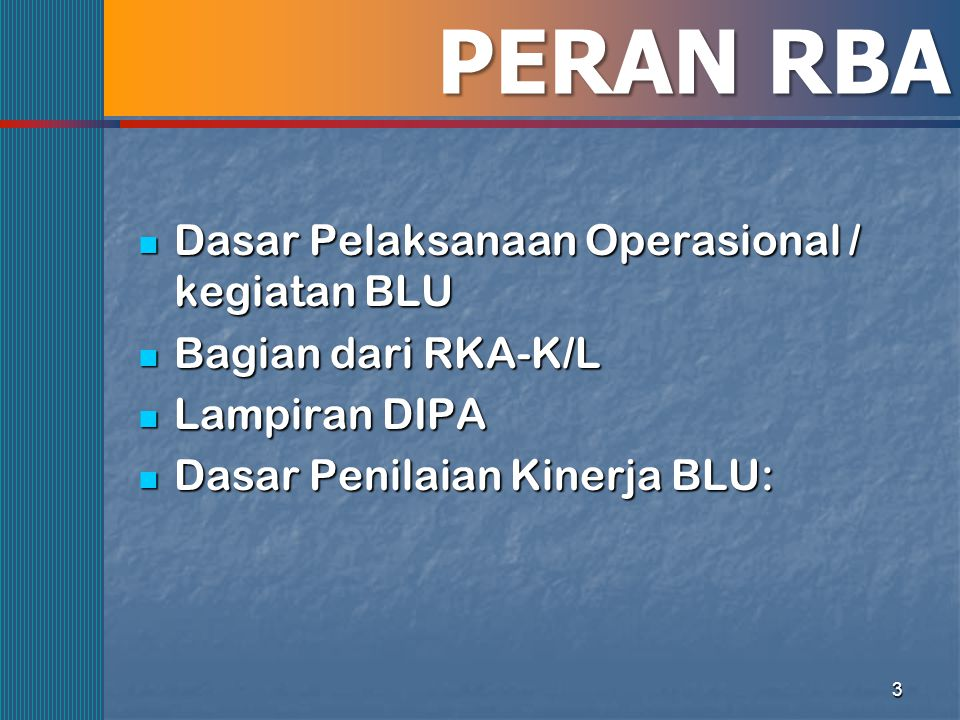 3 PERAN RBA Dasar Pelaksanaan Operasional / kegiatan BLU Dasar Pelaksanaan Operasional / kegiatan BLU Bagian dari RKA-K/L Bagian dari RKA-K/L Lampiran
