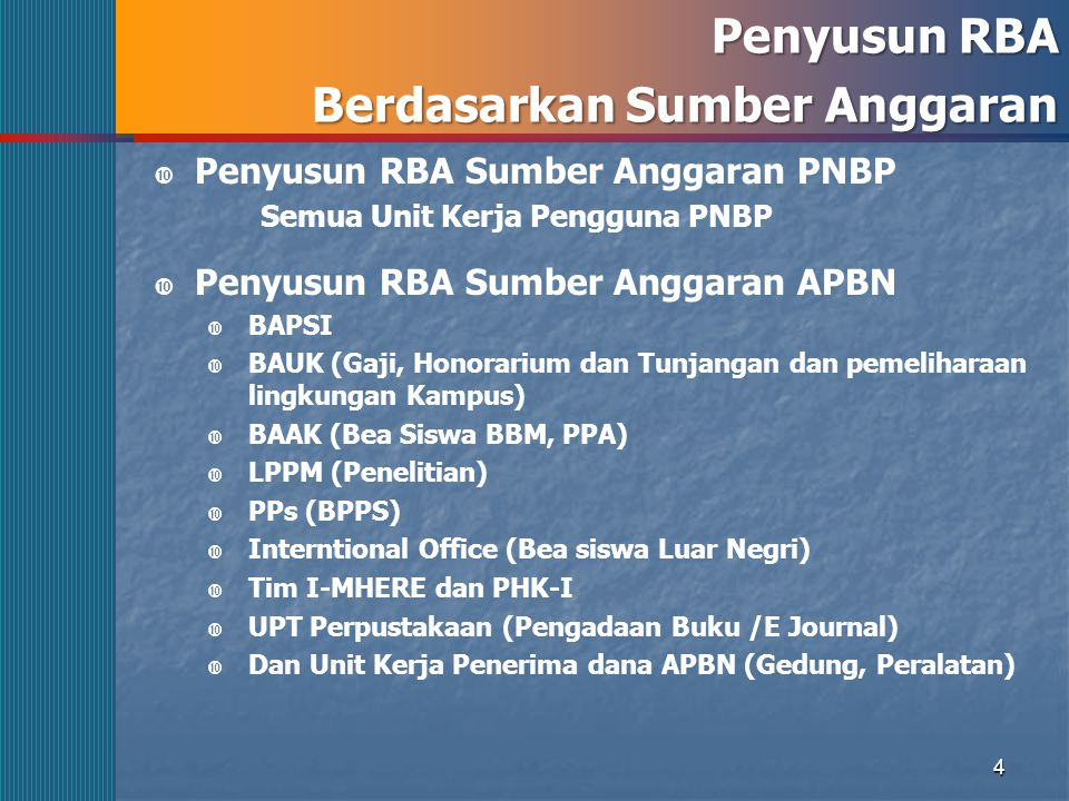 4 Penyusun RBA Berdasarkan Sumber Anggaran  Penyusun RBA Sumber Anggaran PNBP Semua Unit Kerja Pengguna PNBP  Penyusun RBA Sumber Anggaran APBN  BA