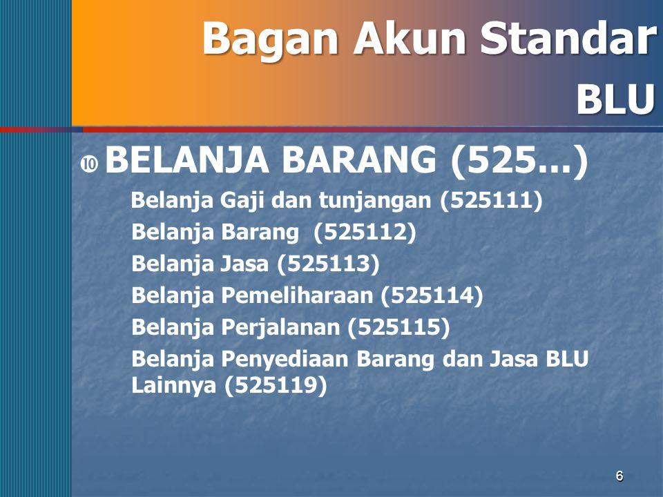 6 Bagan Akun Standa r BLU  BELANJA BARANG (525...) Belanja Gaji dan tunjangan (525111) Belanja Barang (525112) Belanja Jasa (525113) Belanja Pemeliha