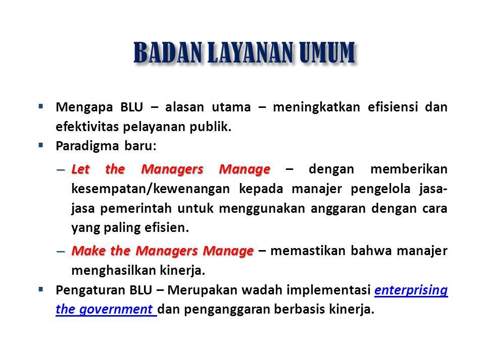  Mengapa BLU – alasan utama – meningkatkan efisiensi dan efektivitas pelayanan publik.  Paradigma baru: – Let the Managers Manage – Let the Managers