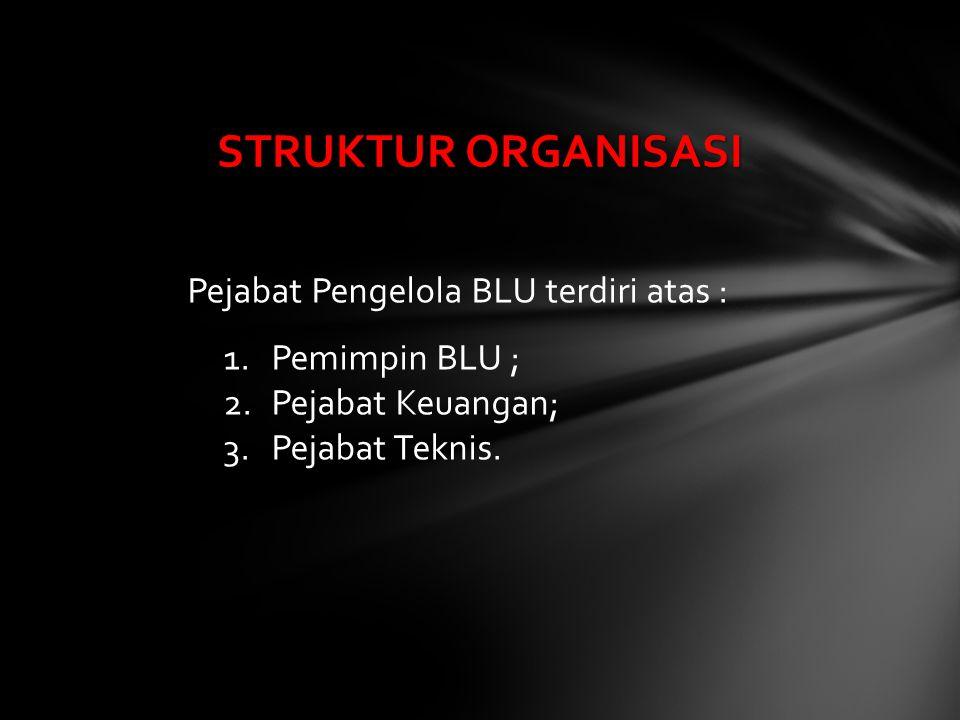 Pejabat Pengelola BLU terdiri atas : 1.Pemimpin BLU ; 2.Pejabat Keuangan; 3.Pejabat Teknis. STRUKTUR ORGANISASI